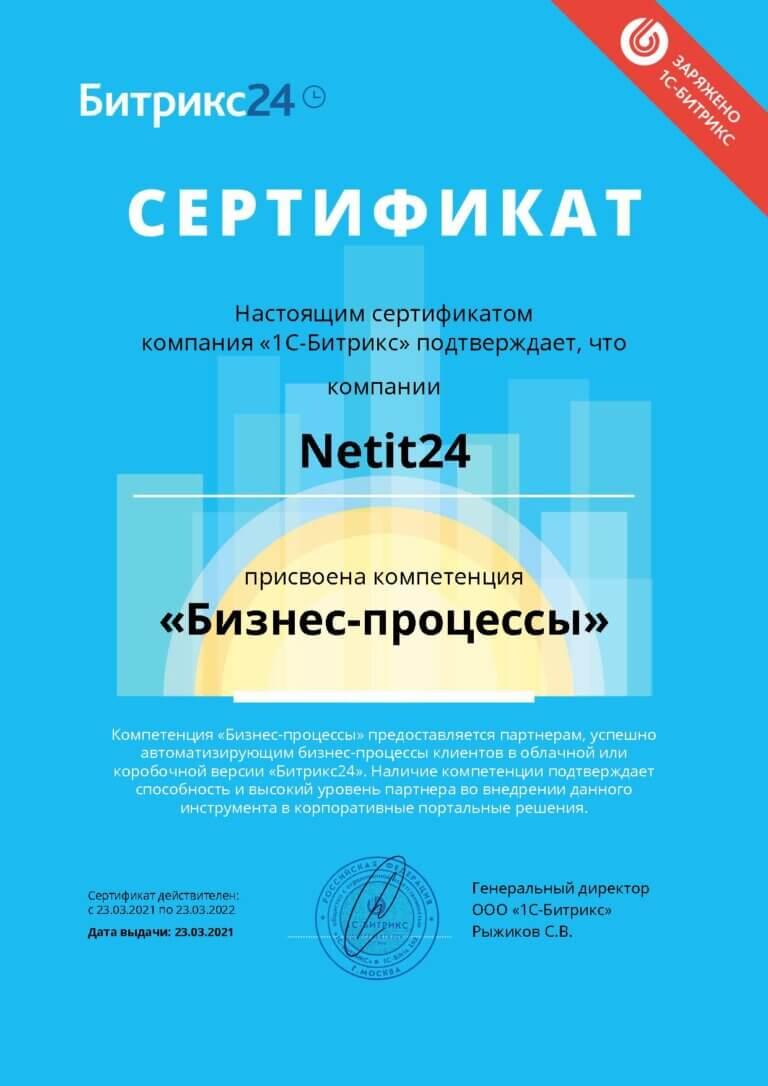 Netit сертификат Бизнес-Процессы